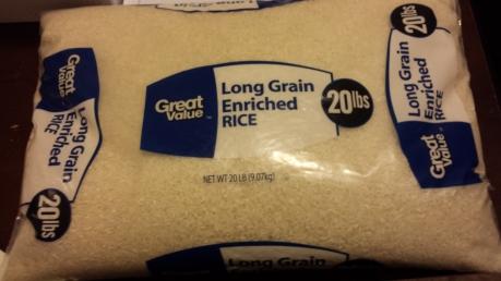 20 lb bag of rice. (Used 3/4 bag)