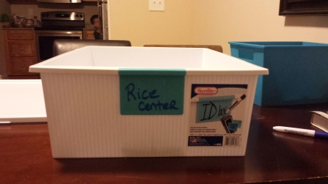 Rice Center - plastic storage container from Wal-Mart